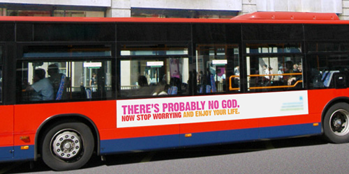 Thre atheist bus advert