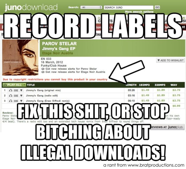 Record Labels: let me buy your products in my country, or stop bitching about illegal downloads.